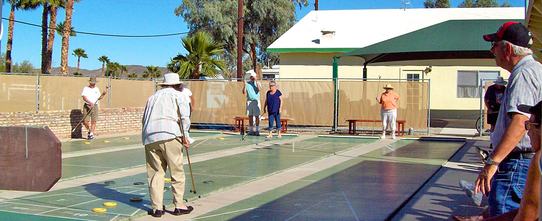 Shuffleboard courts at Yuma Lakes Resort